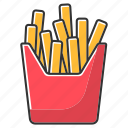 color, fast food, french fries, meal, potato, takeaway, takeout icon
