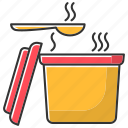 color, container, food, hot, soup, takeaway, takeout icon