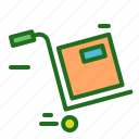 box, courier, delivery, ecommerce, service, trolley icon