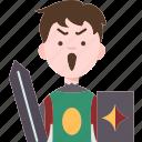 warrior, battle, medieval, soldier, sword