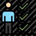 checklist, job, man, tick, user icon