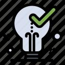 bulb, idea, light, ok, tick icon