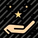 gift, hand, magic, present, star icon