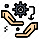 configuration, gear, hand, setting, setup icon