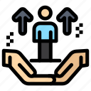 arrow, hand, man, support, user icon