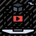 degree, gruadation, hat, online, video icon