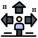 direction, man, problem, sign, user icon