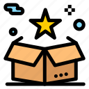 box, delivery, package, star, surprize icon