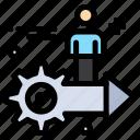 arrow, gear, man, setting, user icon