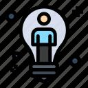 bulb, idea, male, man, solution icon