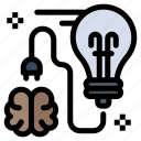 brain, brainstorming, bulb, idea, storming icon