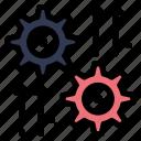 arrow, cog, gear, setting, wheel icon