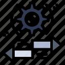 arrow, gear, left, right, setting icon