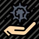 brain, cog, hand, setting, solution icon