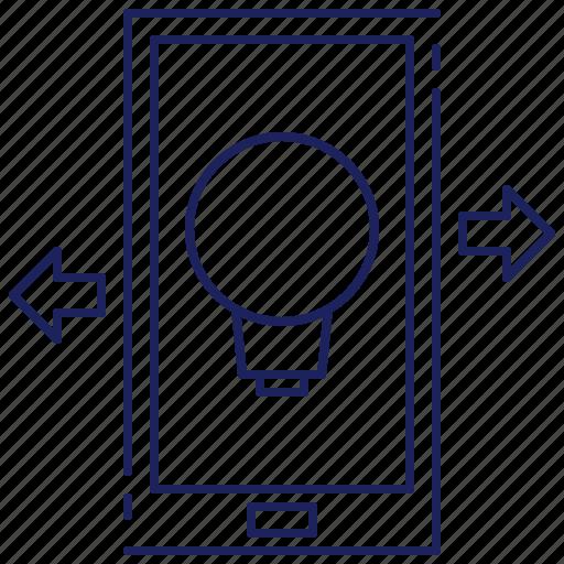 communication, lightbulb, mobile, screen, smartphone, solution, technology icon