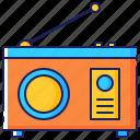antenna, audio, communication, device, radio, retro, technology icon