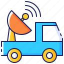 antenna, communication, satellite, technology, transportation, truck, vehicle icon