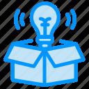 box, bulb, idea, light icon