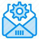 gear, mail, setting icon
