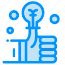 bulb, hand, investment, smart icon