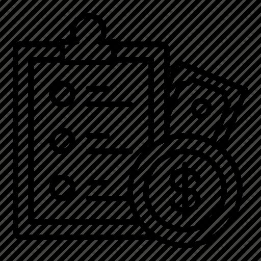 checklist, clipboard, document, dollar, list, task, tasks icon