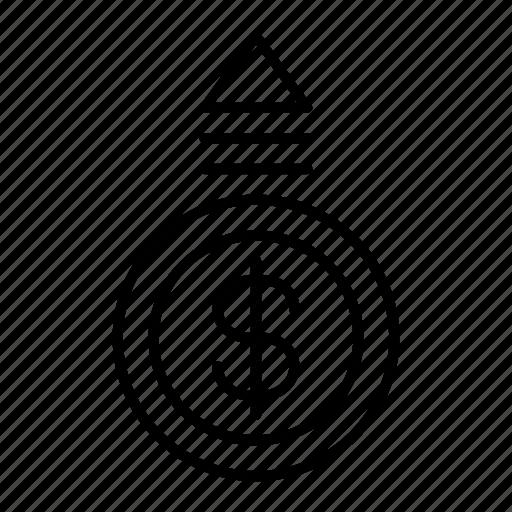 amount, cash, dollar, inflation, money, price, shopping icon
