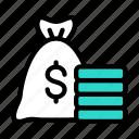bag, money, tax, coins, dollar