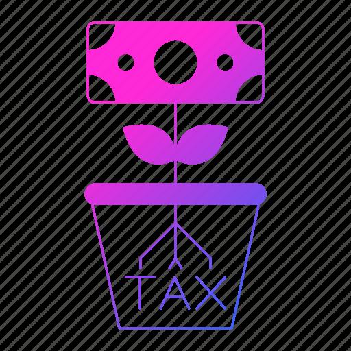invest, invoice, plant, pot, tax, vat icon
