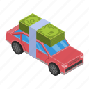 car, cartoon, credit, isometric, money, sale, sell