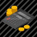 business, calculator, cartoon, finance, financial, isometric, mathematics