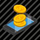 cartoon, isometric, mobile, money, pay, phone, smartphone