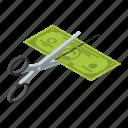 cartoon, cost, cut, dollar, half, isometric, money