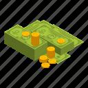 cartoon, cash, coins, dollar, green, isometric, money