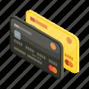 bank, banking, card, cartoon, credit, debit, isometric