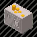 cartoon, finance, isometric, lock, metal, money, safe