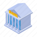 bank, banking, building, cartoon, courthouse, government, isometric