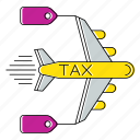 invoice, percent, plane, taxes, travel, vat icon