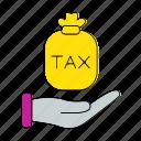 cash, hand, invoice, percent, tax, vat icon