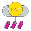 cloud, invoice, percent, taxes, vat icon