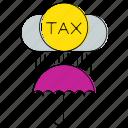 cloud, invoice, percent, protection, tax, umbrella, vat icon
