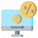 computer, dollar, money, monitor, screen, taxes, technology icon