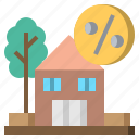 architecture, buildings, estate, house, percentage, real, sale icon