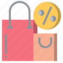 bag, percent, percentage, sale, shopper, shopping, supermarket icon