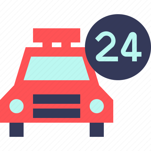 24hours, car, taxi, transport, travel, vacation, vehicle icon