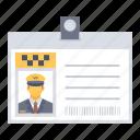 badge, card, id, taxi icon