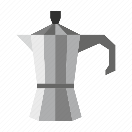 beverage, coffee, container, drink, metal, pot, steel icon
