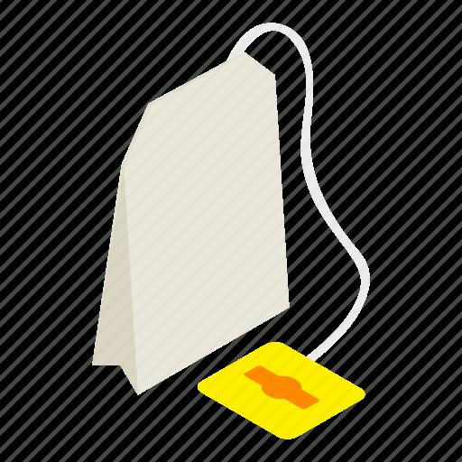 bag, beverage, drink, isometric, label, tea, teabag icon
