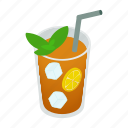 beverage, cup, drink, ice, isometric, lemon, tea icon