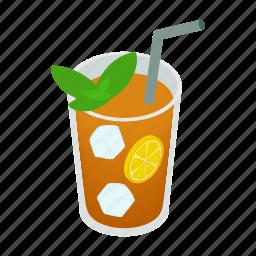 beverage, cup, drink, ice, isometric, lemon, tea icon