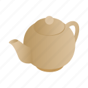 drink, graphic, isometric, pot, tea, teapot, utensil icon